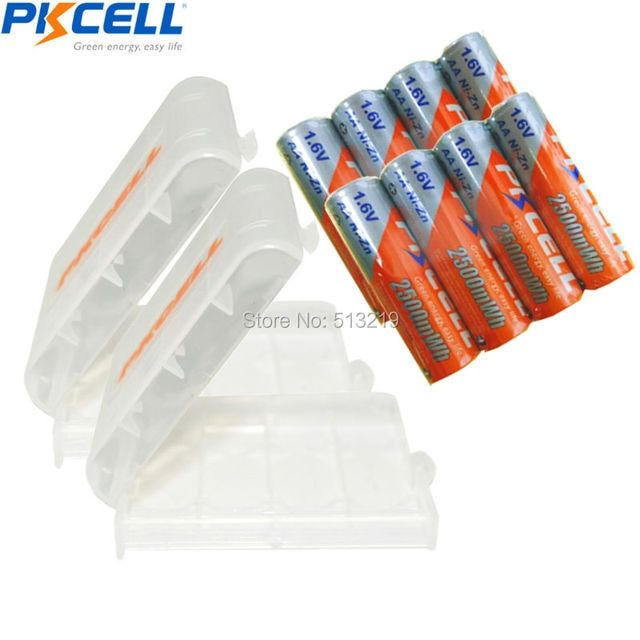 8 x 2500mWh 1.6V PKCELL Ni-Zn AA Rechargeable Battery and 2PCS Battery HOLD CASE BOX For Toys,Digital camera, MP4