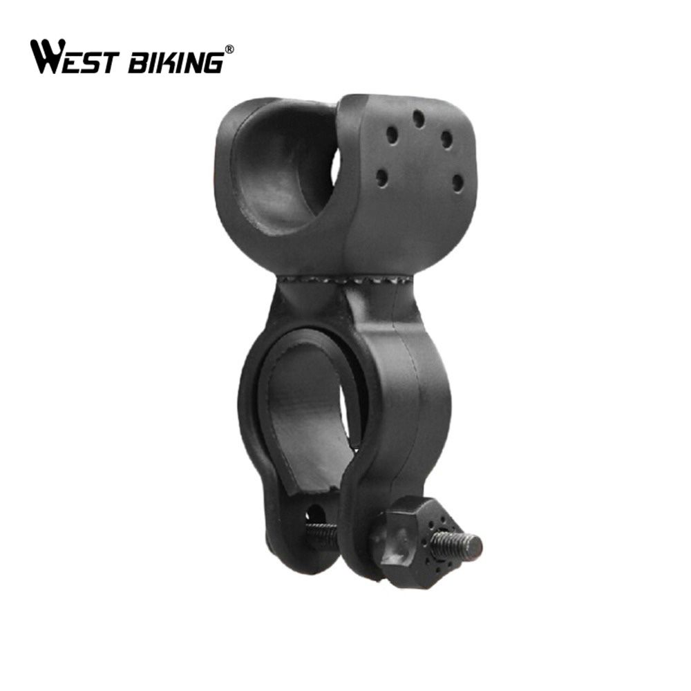WEST BIKING 360-degree Bicycle LED Light Holder Clamp Torch Clip Rotating  Bike Collet Rubber Bicycle Bracket Light Holder