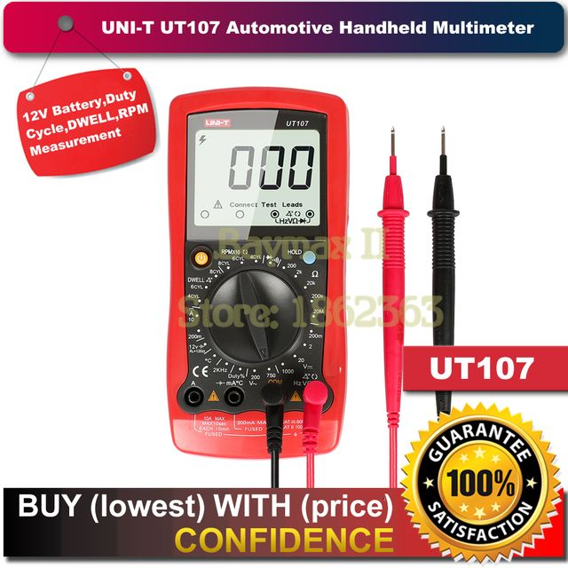UNI-T UT107 LCD Automotive Handheld Multimeter AC/DC voltmeter Tester Meters with DWELL,RPM,Battery Check