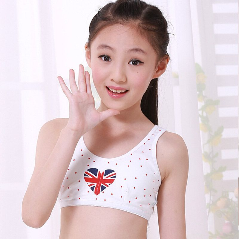 New Retail Puberty Underwear Young girl bra Teenagers Student sports wireless Training Bras vest camisole 8039