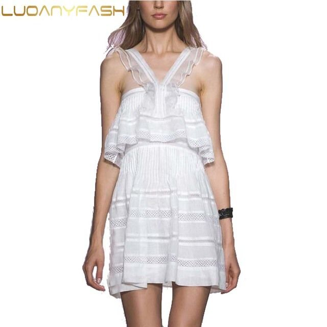 Luoanyfash 2017  new dresses Hot sale discount v neck  isabel halter white dress for love lace hollow dress white vestidos