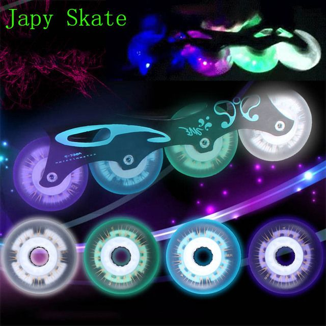 Japy Skate Flash Lighting Skating Wheels LED Sliding Roller Skate Wheels Hardness 92A 72 76 80mm 8PCS Slalom Wheels SEBA Patines