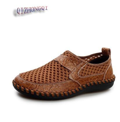 QIZHONGQI 38-44 Plus Size Men Sandals Genuine Leather Fashion Summer Shoes Men Slippers Big Size Men's Sandals New Soft Leather
