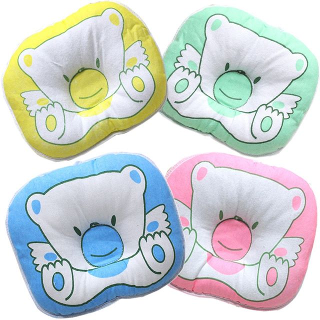 Free Shipping Infant Bedding Print Bear Oval Shape Cotton Baby Pillow Soft Head Protect Newborn Pillows Anti-migraine