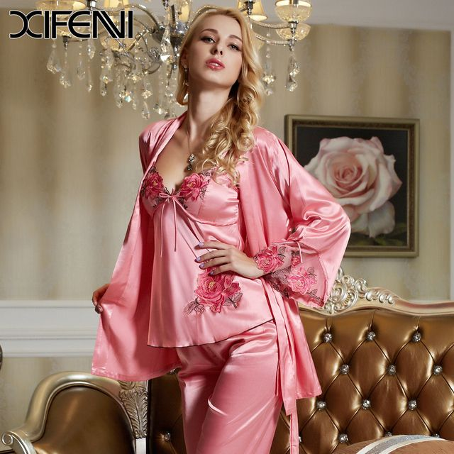 2016 Spring Pink Three Pieces Women Lace Silk Pajamas sets  Full Sleeve Sexy Nightgown Sleepwear