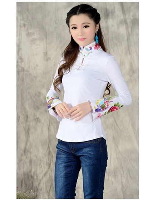 2018 spring Chinese style mandarin collar t shirt women slim embroidered large size t-shirt embroidery crop top female feminine