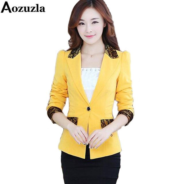 2017 Women Blazer Jackets Spring Autumn Long Sleeve Lace Blazer Suit Outwear Women OL Work Wear Casual Slim Jacket Plus Size 5XL