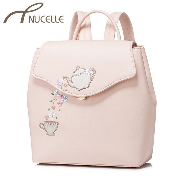 NUCELLE Women PU Leather Backpack Ladies Fashion Embroidery Teapot Beading Shoulder School Bag Ladies Flower Rucksack NZ4053