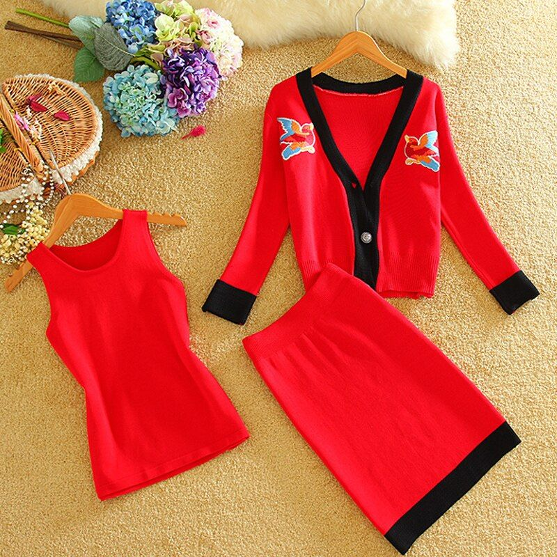 2015 Autumn Winter Women Elegant Knitted Skirt Suit Women Female Skirt Suits 2 piece Set Women Bowknot Skirt Sets