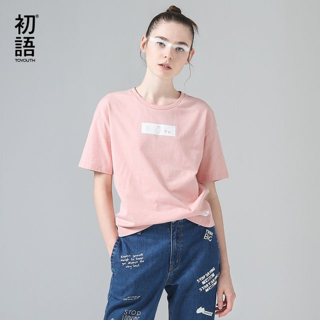Toyouth T-Shirts 2017 Summer Women T Shirt Funny Printed Casual Short Sleeve Cotton O-Neck Tees Tops
