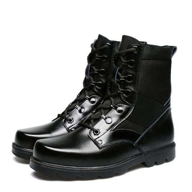 Genuine Leather Mens Leather Boots 2016 European Men Military Boots combat tactical boots waterproof botas militares X090902