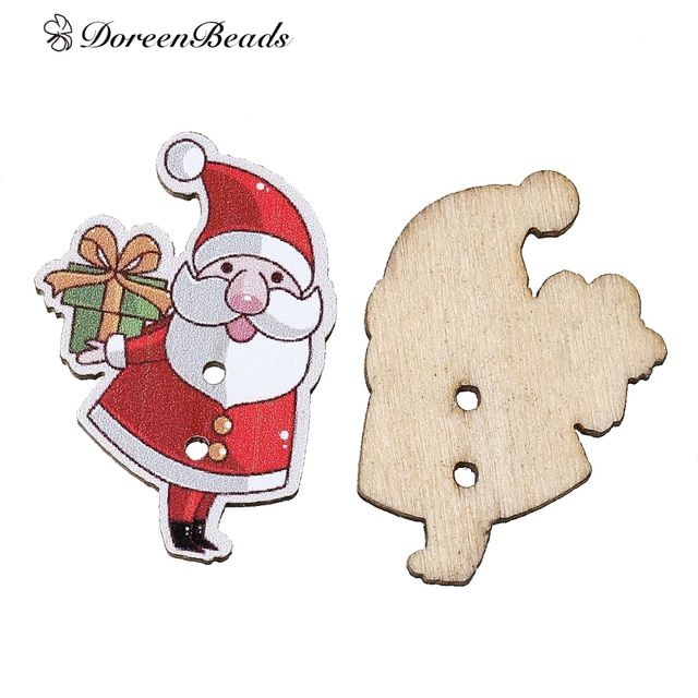 "DoreenBeads Wood Sewing Button Scrapbooking Christmas Santa Claus Red 2 Holes 3.3cm(1 2/8"")x 23.0mm( 7/8""),5 PCs 2017 new"