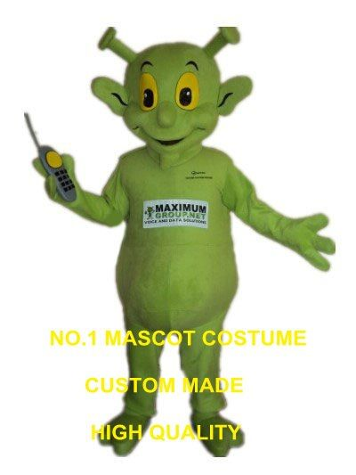Green Alien Mascot Costume adult size factory custom extraterrestrial intelligence beings theme anime cosplay costumes 2955