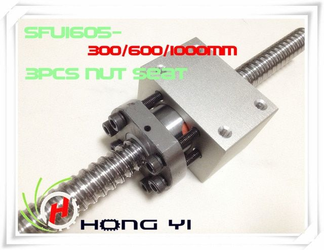 3 X SFU1605 (300/600/1000MM)-C7 Anti Backlash Rolled Ballscrew +3pcs RM1605  Ball nut Housing Bracket Holder CNC X Y Z