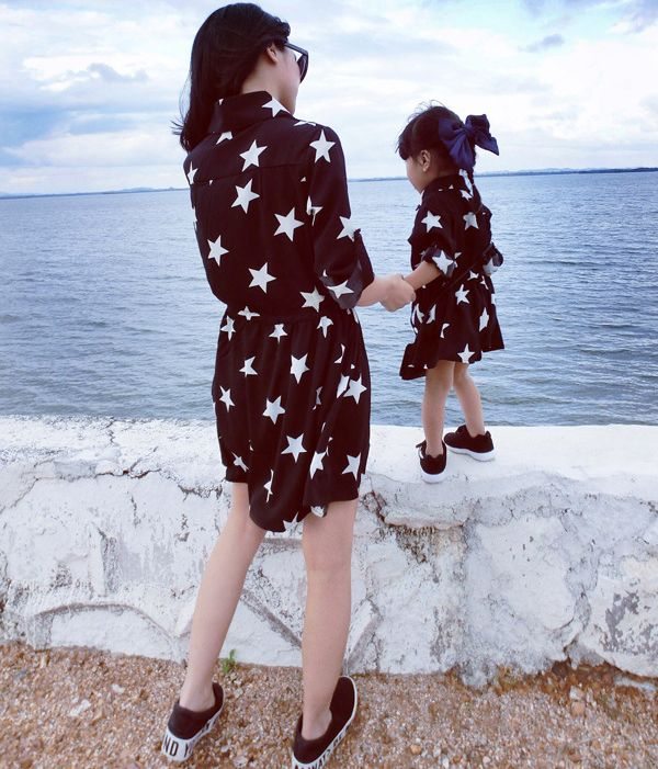 Stars Printed Long Sleeves Mother Daughter Dresses Matching Family Clothes Autumn Fashion 2018 Family Look Girl and Mother Dress