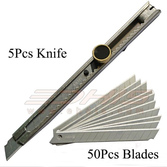 5Pcs 3D Carbon Fiber Vinyl Film Cutting Knife Wrapping Foil Cutter Tools 9mm Art Knife / Office Knife Tool with 50Pcs Blades