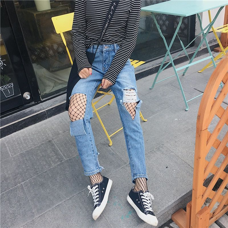 denim jeans woman big hole casual broeken jeans 2017 casual boyfriend jeans for women denim pants dames jeans