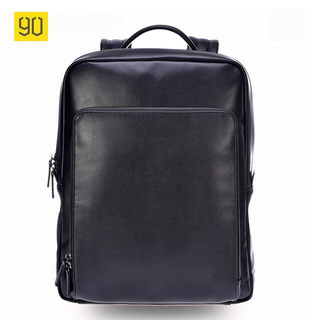 Xiaomi 90 Fun Men Backpack High Quality PU Leather 14 Inches Casual Travel Laptop Rucksack Fashion Business School Bag Black