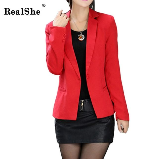 RealShe Women's Jacket 2017 Latest Women Long Sleeve Casual Daily Wear Short Blazer Slim Jacket Women's Coats 3 Colors