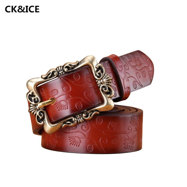 New 2017 Fashion Belts Women Retro Pin Buckle PU Leather Womens Belt Individuality Embossed All-Match Belts For Woman 110-115CM