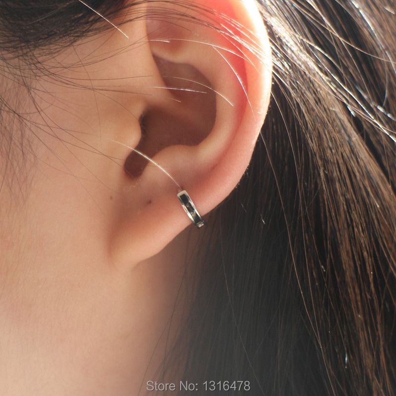 925 Silver earring black strip ear bone ear buckle small ear ring cool personality neutral inner diameter5.5mm men women ear jew