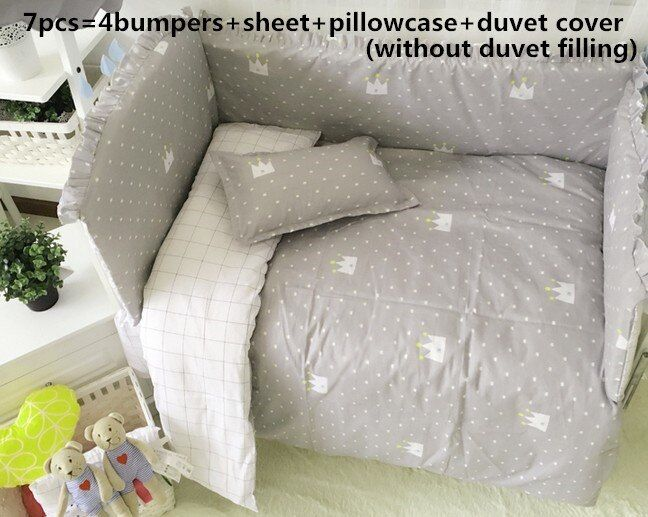 Discount! 6/7pcs Crib Bedding Set 100% Cotton Curtain Crib Bumper Cot Bedding Sets For Baby ,120*60/120*70cm