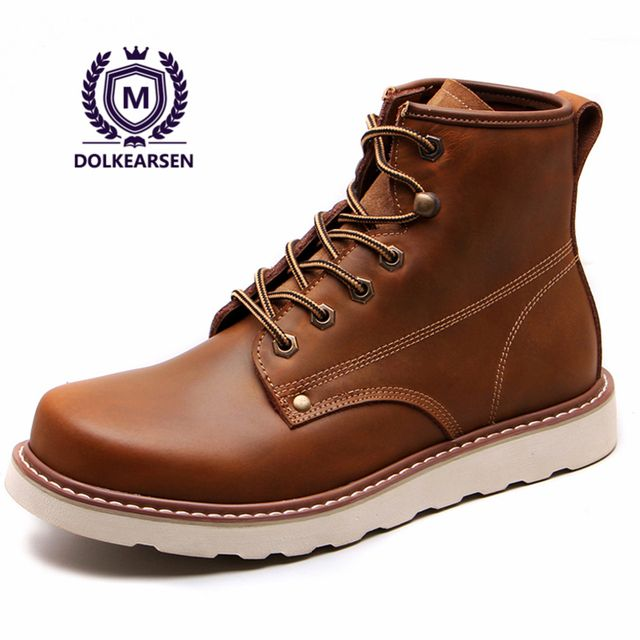 DOLKEARSE 2017 Spring British Style Leather Men Shoes Brand Dr Martin Boots Military Ankle Boots Motorcycle Boots Plus Size