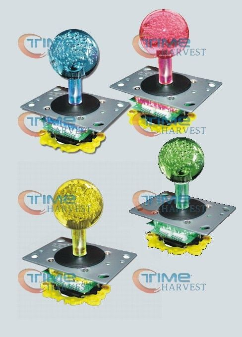 4 pcs Newest Arcade LED Joystick with 45mm Crystal Babble ball top 4 colors Illuminated LED Joystick with 8 way 4 way restrictor