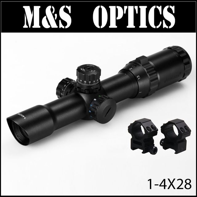 MARCOOL 1-4X28 IRGBL Iluminated Objective Focus Airsoft Air Rifles Hunting Optical Sight Riflescopes Scope For Air Guns Rifle