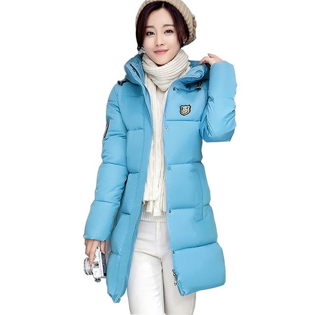 2016 winter new down parka women long plus size slim hooded cotton jacket coat female cotton-padded parka thick warm coat kl392