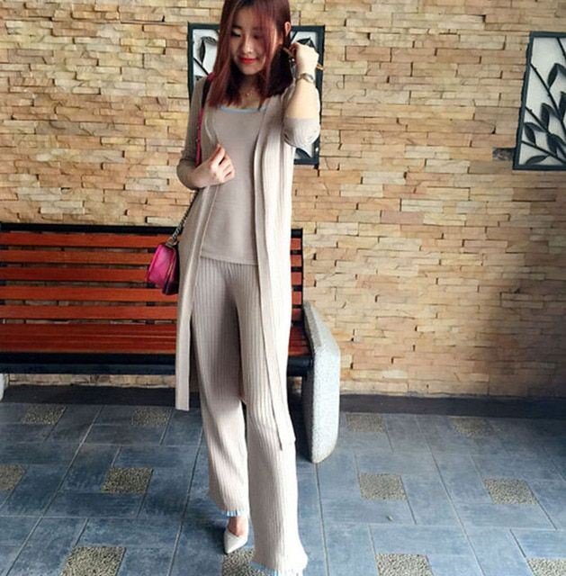 3 Pieces Set 2016 Autumn Winter Fashion Brand Elastic Knitted Milky Long Sleeve Cardigan+Sleeveless Tank +Long Pant Women Set