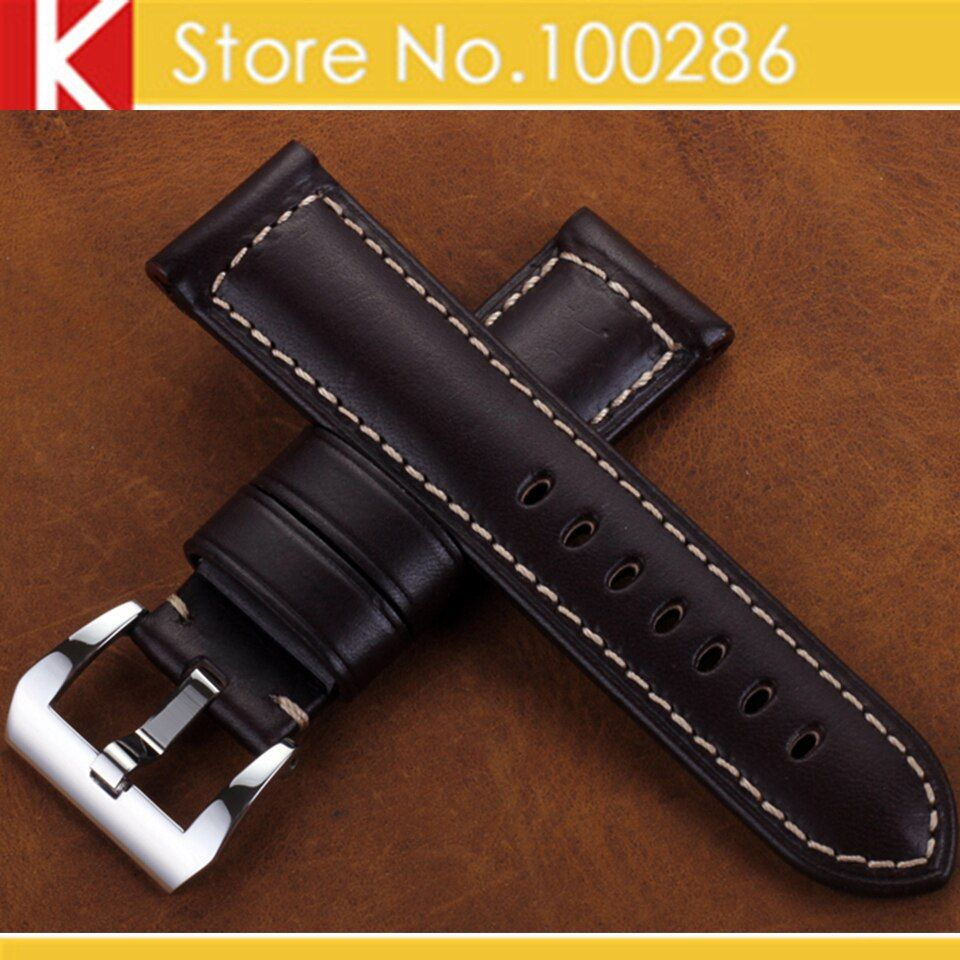 Watch accessories Watch band 24mm Brown Italy Calf Leather Watch Strap Handmade Padded Steel Watchband for Luminox Men Panerai