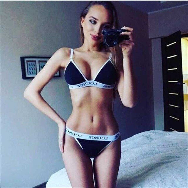 2016 fashion women summer bandage letter print crop tops bras and sexy g-strings thongs two pieces sets swimsuit bathing suits
