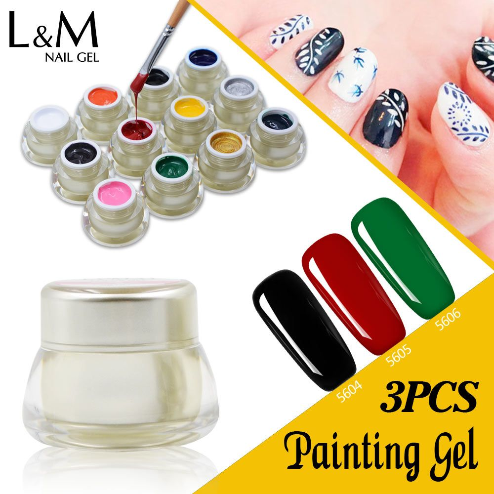 3 Pcs Set ibdgel Brands Painting Gel Soak Off Art Paint Color Gel Nails Polish DIY Paint Drawing UV LED Curing Ink nail design