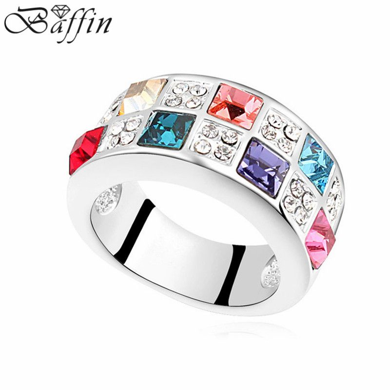 2016 new design 5 colors square setting ring Made with Swarovski ELEMENTS for Mother's Day gift