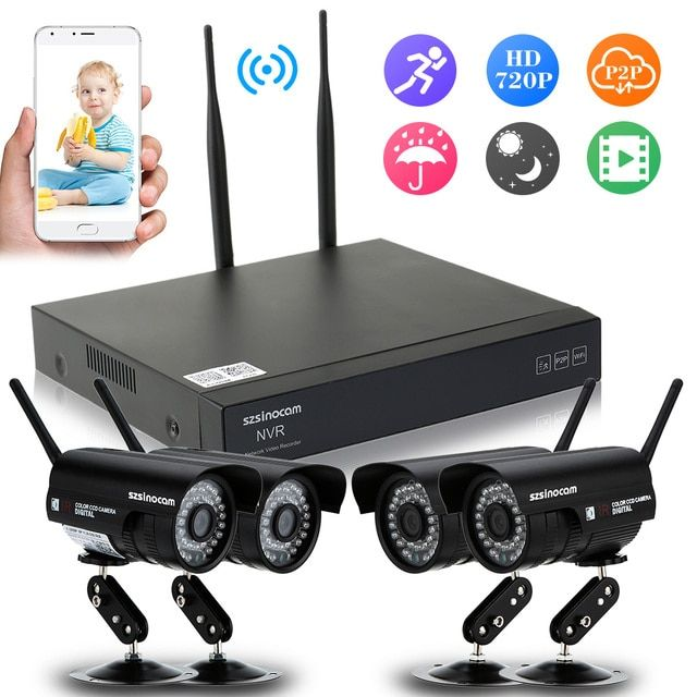 8CH HD 1080P NVR Wireless CCTV Security Surveillance System + 4PCS 1080P IP Cameras Waterproof Night View APP Control