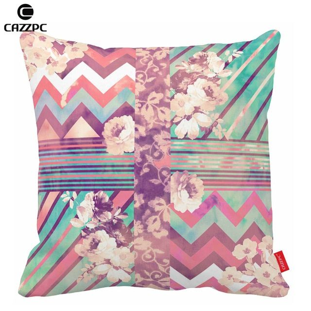 Retro Pink Turquoise Abstract Floral Stripe Chevron Print Cushion Covers decorative Throw Pillowcases Home Decor Car Sofa chair