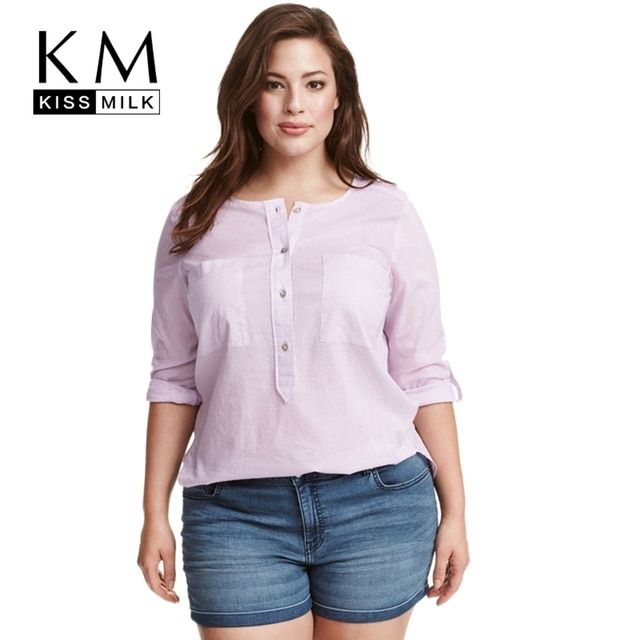 Kissmilk Plus Size New Fashion Women Clothing Casual Solid O-Neck Blouse Long Sleeve Basic Tops Loose Soft Blouse Shirt 6XL 7XL