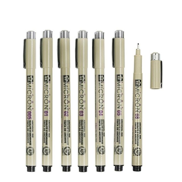 7 pcs/Lot Sakura Pigma Micron needle for drawing sketch cartoon archival ink gel pen Stationery Animation Art supplies A6922