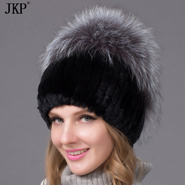 Rex rabbit fur hat female winter thick warm knit hat rabbit fur hat fox fur ball THY-09