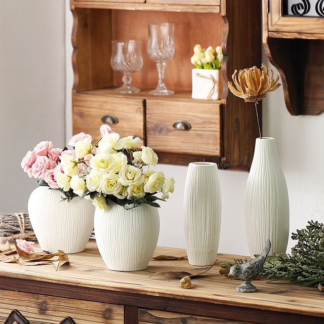 Antique Ceramic Wedding Decorative Vase Modern White Ceramic Vase Artificial Flower TableTop Small Vase Wedding Decoration Vases