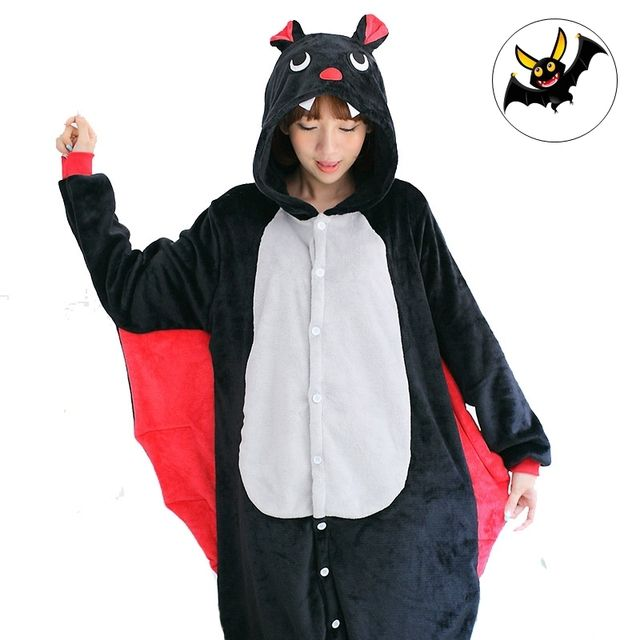 Cute Black Bat Cartoon Adult Soft Homewear Costume Animal Pajamas Sleepwear Onesies Pajama For Women Men Couples Girls