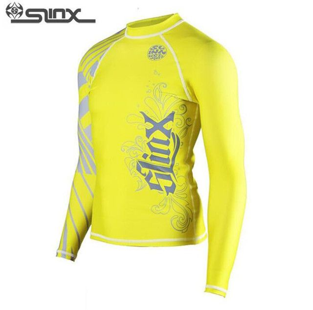SLINX Men Long-Sleeved Tight Wetsuit Surf Clothing Sun Protection Clothing T Shirt Yellow Jellyfish Clothing -Fitting Wetsuit