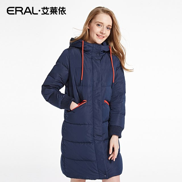 ERAL Women's Winter 2016 Slim Casual Hooded Solid Thickening Long Down Jacket ERAL16031-EDAA