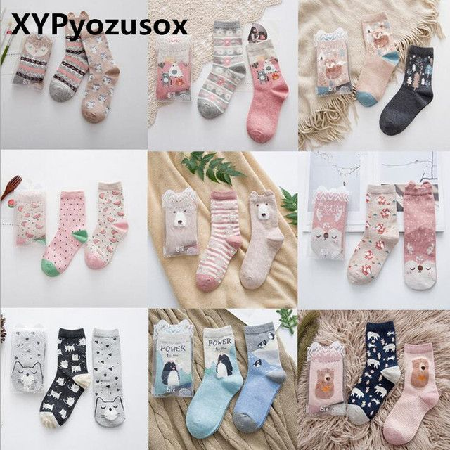 2 Pairs Korean Cartoon Woman Socks Cotton Lovely Animal Fox Bear Cute Winter Warm Socks For Girl Kawaii Funny Socks Calcetines