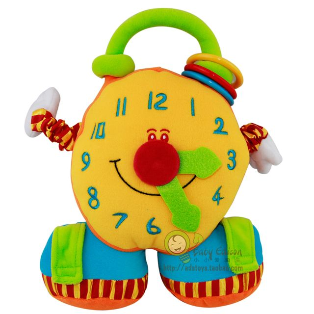 Funny 1pc baby plush early development cartoon clock pacify doll mirror rattles cute cognitive infant newborn gift toy