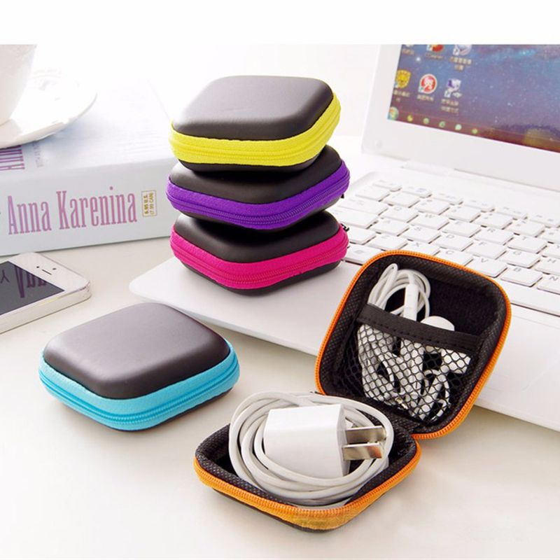 Earphone Wire Storage Bag Zipper Protective Data Line Cables Storage Container Organizer Case headphones charger SD Card Box