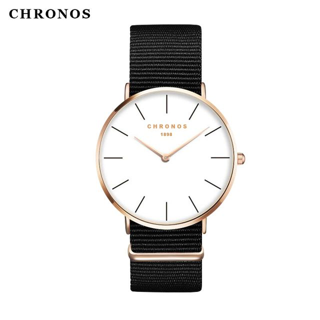 Chronos 1898 New Style Watch Female Clock Relojes Mujer Montre Femme Nylon Band Fashion Women Men Watch Hombre Relogio Masculino