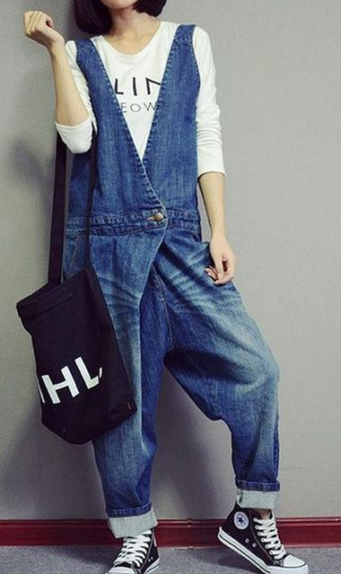 Free Shipping spring and autumn Women's casual Overalls Harem Pants Denim Jeans Loose Jumpsuits Rompers 71801