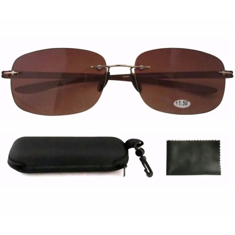 SR14002 Patented Lightweight Rimless Bifocal Sun Glasses For Men and Women W/pouch